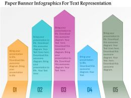 1214 Paper Banner Infographics For Text Representation Powerpoint Template