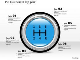 1214 Put Business In Top Gear Use Right Image Put Text Box Next To Each Number Powerpoint Presentation