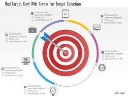 1214 Red Target Dart With Arrow For Target Selection Powerpoint Template
