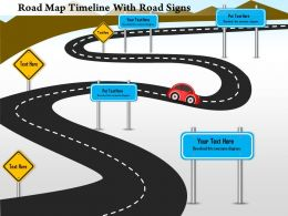 1214 Road Map Timeline With Road Signs Powerpoint Presentation