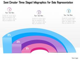 1214 Semi Circular Three Staged Infographics For Data Representation PowerPoint Template