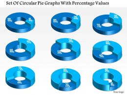 1214 Set Of Circular Pie Graphs With Percentage Values Powerpoint Template