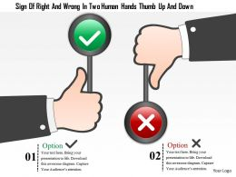1214 Sign Of Right And Wrong In Two Human Hands Thumb Up And Down Powerpoint Template