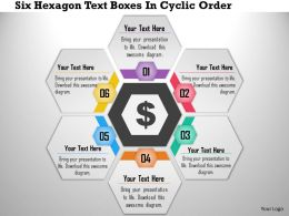 1214 Six Hexagon Text Boxes In Cyclic Order PowerPoint Presentation
