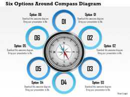 1214 Six Options Around Compass Diagram PowerPoint Presentation