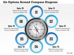 1214 Six Options Around Compass Diagram PowerPoint Presentation