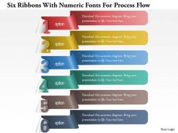 1214 Six Ribbons With Numeric Fonts For Process Flow Powerpoint Template