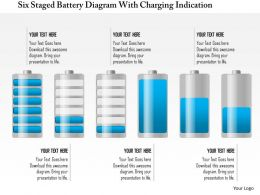 1214 Six Staged Battery Diagram With Charging Indication Powerpoint Template