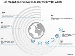 1214 Six Staged Business Agenda Diagram With Globe PowerPoint Template
