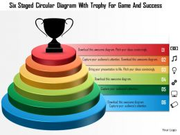 1214 Six Staged Circular Diagram With Trophy For Game And Success Powerpoint Template