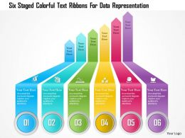 1214 Six Staged Colorful Text Ribbons For Data Representation Powerpoint Template