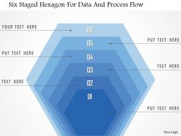 1214 Six Staged Hexagon For Data And Process Flow PowerPoint Template