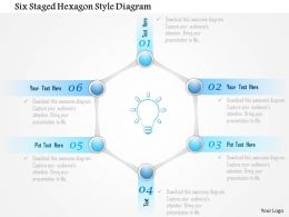 1214 Six Staged Hexagon Style Diagram PowerPoint Template