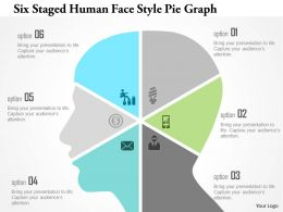 1214 Six Staged Human Face Style Pie Graph Powerpoint Template