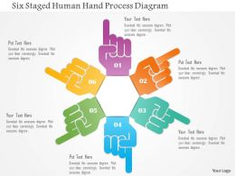 1214 Six Staged Human Hand Process Diagram Powerpoint Template