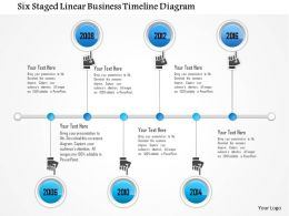 1214 Six Staged Linear Business Timeline Diagram PowerPoint Presentation
