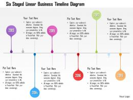 1214 Six Staged Linear Business Timeline Diagram Powerpoint Template