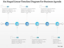 1214 Six Staged Linear Timeline Diagram For Business Agenda PowerPoint Template