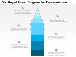 1214 Six Staged Tower Diagram For Representation Powerpoint Slide