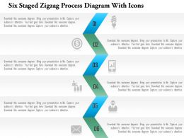 1214 Six Staged Zigzag Process Diagram With Icons Powerpoint Template