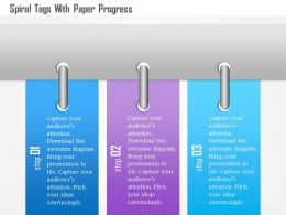 1214 Spiral Tags With Paper Progress Powerpoint Template