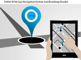 1214 Tablet With Gps Navigation System And Roadmap Header Powerpoint Template