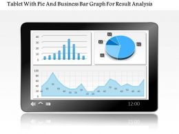 1214 Tablet With Pie And Business Bar Graph For Result Analysis Powerpoint Slide