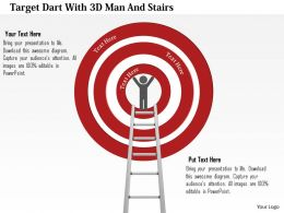 1214 Target Dart With 3d Man And Stairs Powerpoint Template