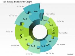 1214 Ten Staged Puzzle Bar Graph PowerPoint Template