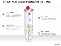 1214 Test Tube With Colored Bubbles For Science Data Powerpoint Template