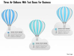 1214 Three Air Balloons With Text Boxes For Business Powerpoint Template