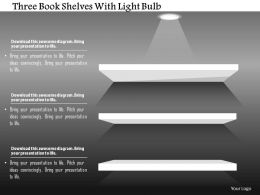 1214 Three Book Shelves With Light Bulb Powerpoint Template