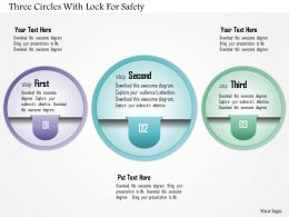 1214 Three Circles With Lock For Safety Powerpoint Template