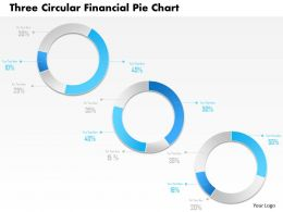 1214 Three Circular Financial Pie Chart Powerpoint Template