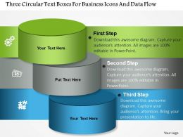 1214 Three Circular Text Boxes For Business Icons And Data Flow PowerPoint Template