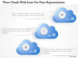 1214 Three Clouds With Icons For Data Representation Powerpoint Template