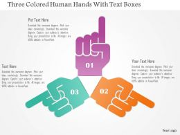 1214 Three Colored Human Hands With Text Boxes Powerpoint Template