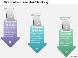 1214 Three Colored Labels For Advertising Powerpoint Template