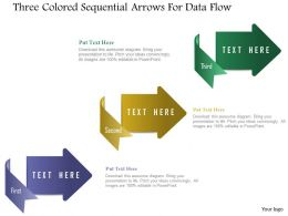1214 Three Colored Sequential Arrows For Data Flow Powerpoint Template
