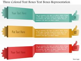 1214 Three Colored Text Boxes Text Boxes Representation Powerpoint Template