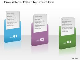 1214 Three Colorful Folders For Process Flow Powerpoint Template