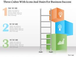 1214 Three Cubes With Icons And Stairs For Business Success Powerpoint Template