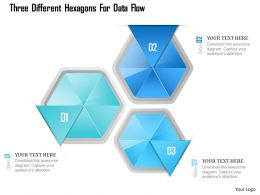 1214 Three Different Hexagons For Data Flow PowerPoint Template