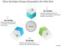 1214 Three Envelopes Design Infographics For Data Flow Powerpoint Template