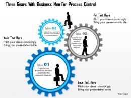 1214 Three Gears With Business Men For Process Control Powerpoint Template