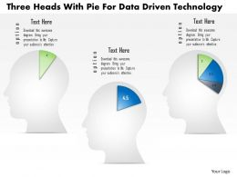 1214 Three Heads With Pie For Data Driven Technology Powerpoint Slide