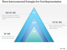 1214 Three Interconnected Triangles For Text Representation Powerpoint Template