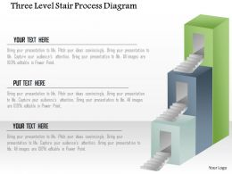 1214 Three Level Stair Process Diagram PowerPoint Template