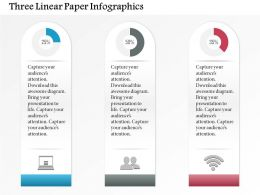 1214 Three Linear Paper Infographics Powerpoint Template