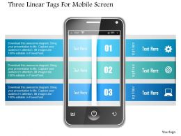 1214 Three Linear Tags For Mobile Screen Powerpoint Template